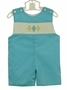 NEW Le' Za Me Aqua Shortall with Argyle Smocking
