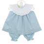 NEW Le' Za Me Blue Pantaloon Set with White Ruffled Portrait Collar