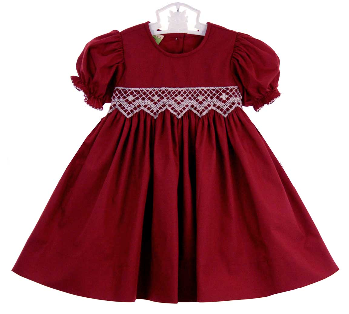 Le&-39- Za Me cranberry smocked dress with antique white smocked waist ...