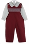 NEW Le' Za Me Cranberry Smocked Longall with Matching Ivory Sirt