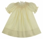 NEW Le' Za Me Ivory Bishop Smocked Dress with Ivory Embroidery