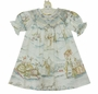 NEW Le' Za Me Ivory Bishop Smocked Dress with Pastel Bunny Toile Print