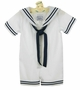 "<img src=""http://site.grammies-attic.com/images/blue-sold-1.gif""> NEW Lito White Cotton Seersucker Sailor Suit with Dark Navy Braid Trim and Matching Sailor Hat"