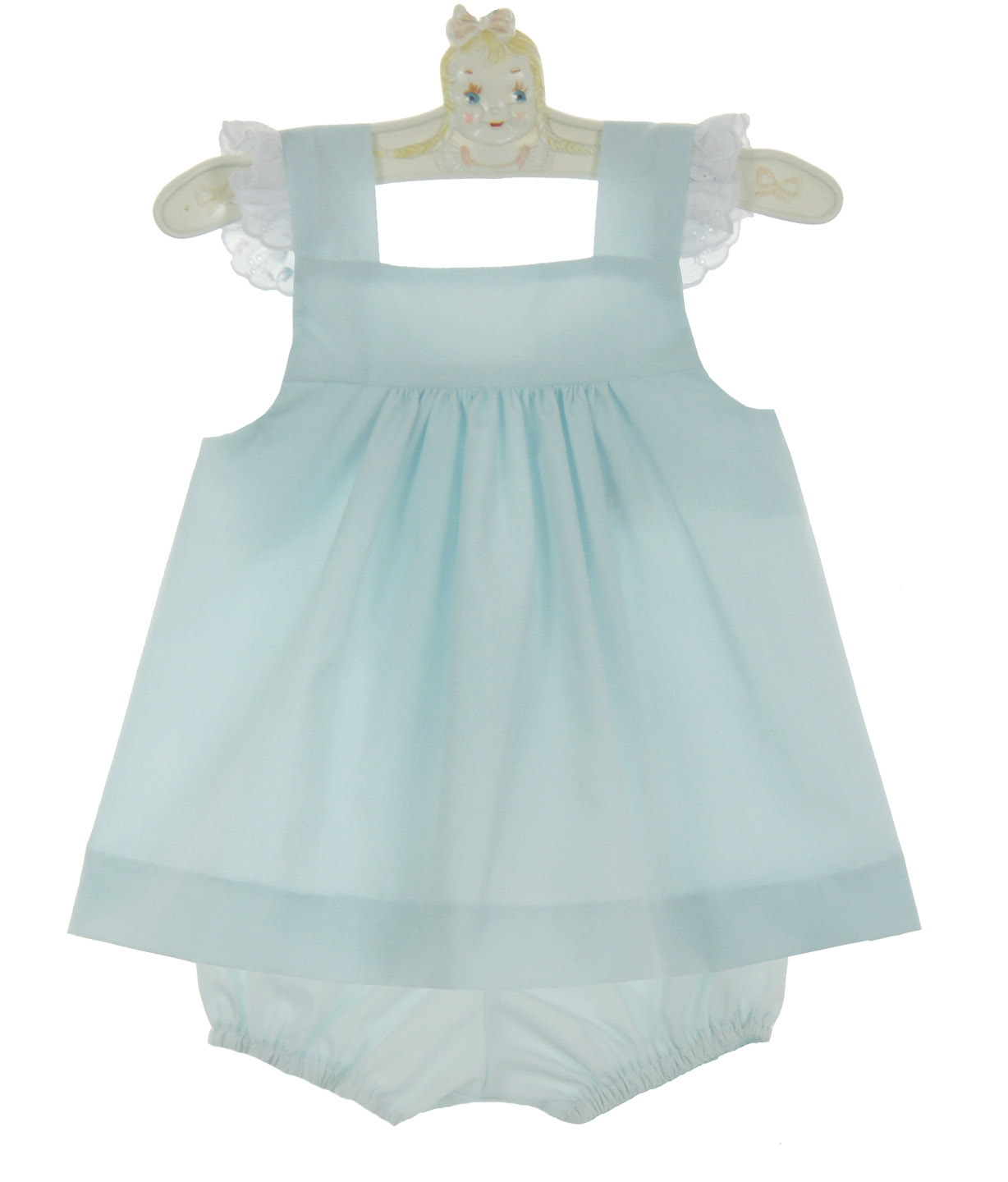 Lullaby Set Pale Blue Pinafore Set With Embroidered Eyelet