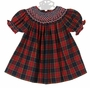 NEW Marco and Lizzy Red Plaid Bishop Smocked Dress