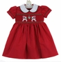 NEW Marco & Lizzy Red Smocked Dress with Reindeer Embroidery