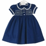 NEW Marco & Lizzy Royal Blue Smocked Corduroy Dress with Floral Pleated Trim