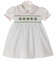 NEW Marco & Lizzy White Smocked Dress with Embroidered Wreaths