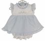 NEW Monelli Blue Striped Seersucker Pinafore Dress and Diaper Cover with Bunny Embroidery