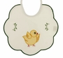 "<img src=""http://site.grammies-attic.com/images/blue-sold-1.gif""> NEW Pale ivory Bib with Appliqu�d Chick and Green Scalloped Trim"