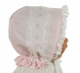 NEW Peppermint Pony Pink Heirloom Style Bonnet with Lace and Pink Embroidery and Embroidery