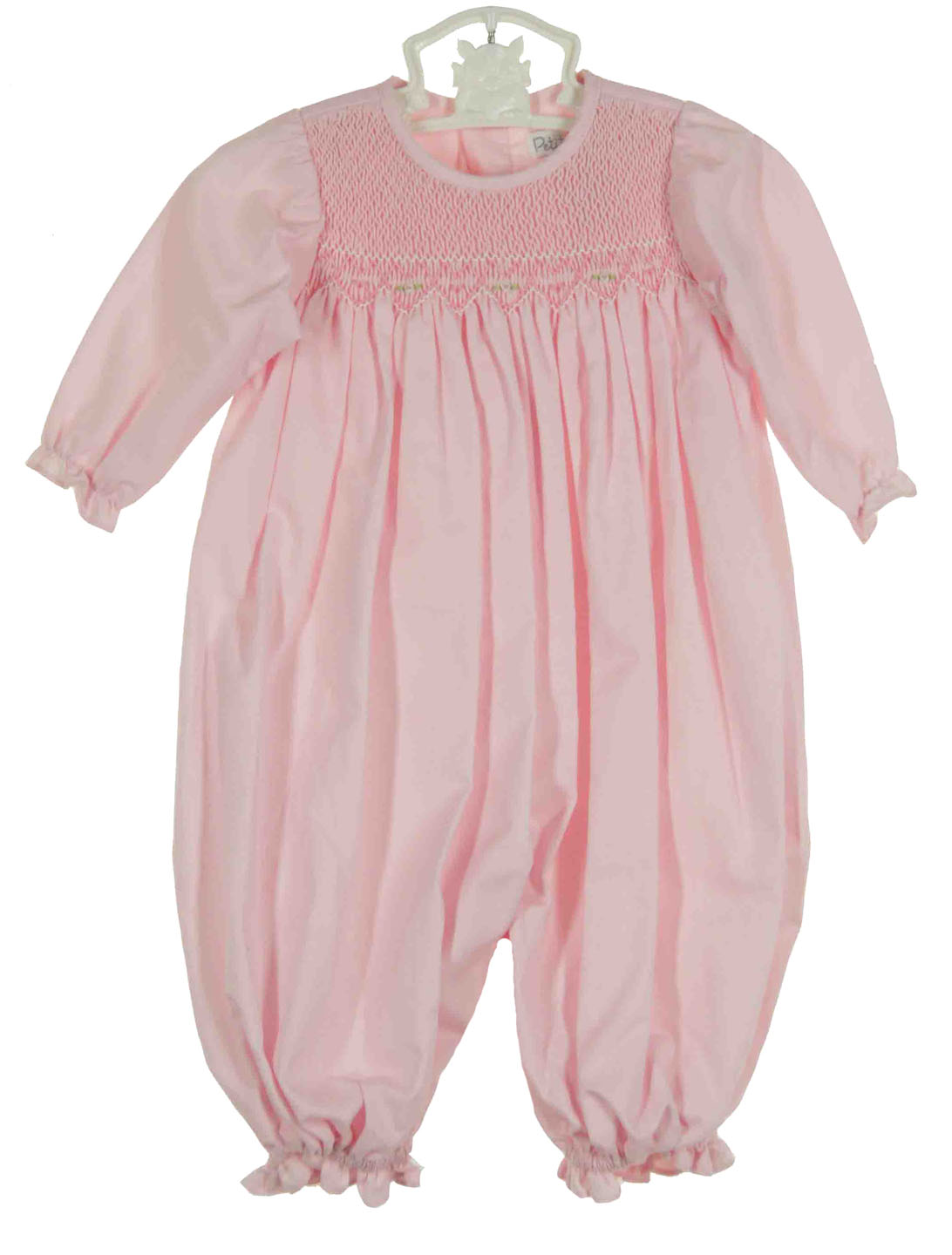 Petit Ami Pink Smocked Convertible Gown To Romper With