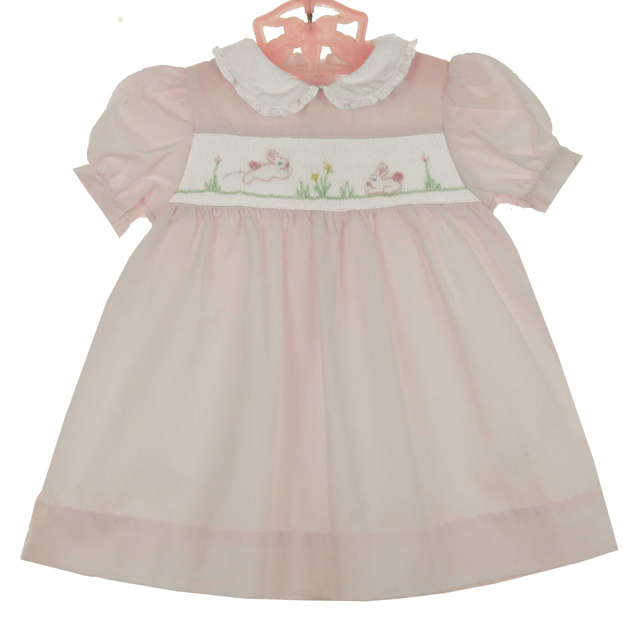 Petit Ami pink smocked dress with embroidered bunnies,pink ...