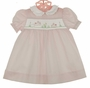 NEW Petit Ami Pink Smocked Dress with Embroidered Bunnies and Matching diaper Cver