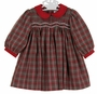 NEW Petit Ami Red and Green Plaid Smocked Dress with Red Pinwale Corduroy Collar and Cuffs and Matching Diaper Cover