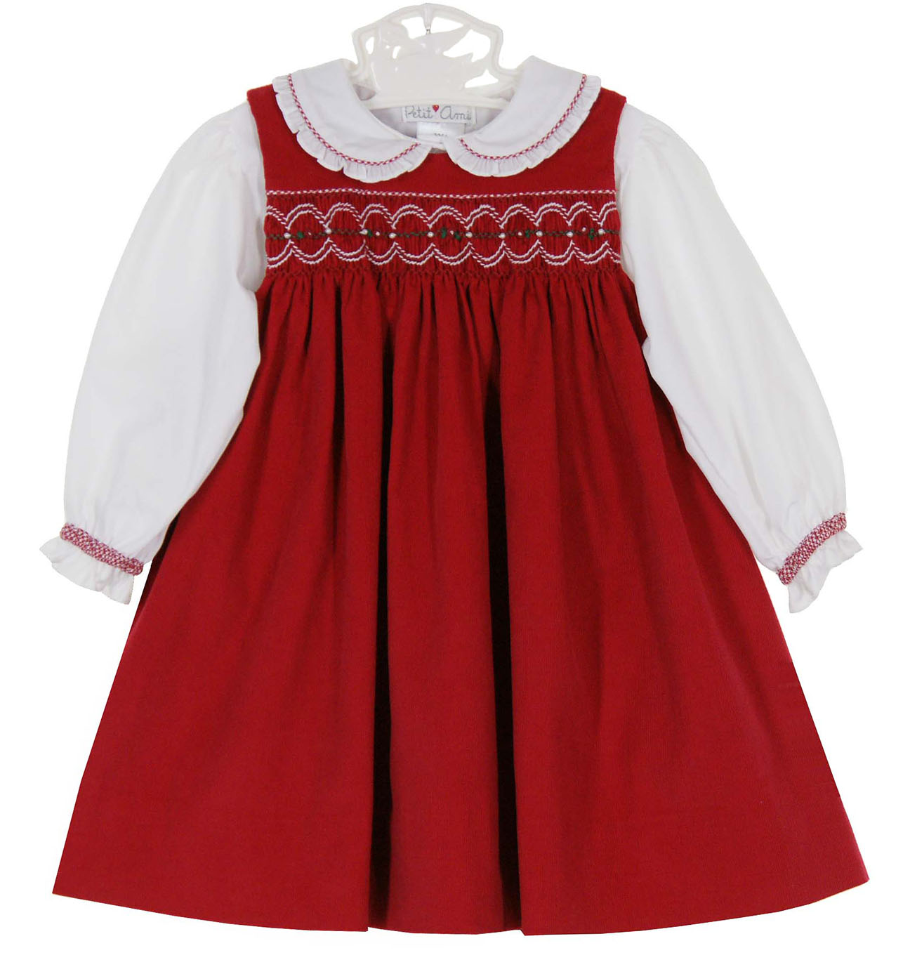 Ami red cotton corduroy smocked jumper set baby girls red christmas