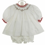 NEW Petit Ami White Twill Bishop Smocked Dress and Matching Diaper Cover with Holiday Embroidery
