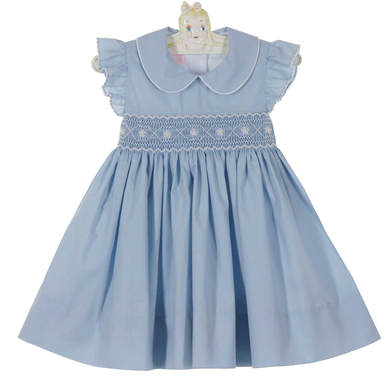 Baby smoked dresses offer classic, traditional, and too-cute style. Your newborn will look darling in a timeless red, pink, yellow, baby blue or white smocked dress from our affordable assortment.