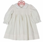 NEW Petit Bebe by Anavini White Cotton Corduroy Smocked Dress with Embroidered White Flowers and Seed Pearls