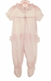 NEW Pink Nylon Ruffle Bottom Footed Pajamas with White Lace Trim