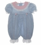 "<img src=""http://site.grammies-attic.com/images/blue-sold-1.gif""> Polly Flinders Blue Chambray Romper with Pink Checked Collar and Pleat Inserts"