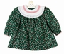NEW Polly Flinders Green Candy Cane Print Cotton Dress with White Eyelet Trimmed Collar