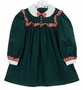 NEW Polly Flinders Green Cotton Corduroy Dress with Red Plaid Trim