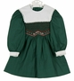 NEW Polly Flinders Green Cotton Smocked Dress with Red Dots and White Portrait Collar