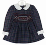 NEW Polly Flinders Navy Plaid Smocked Dress with White Collar and Cuffs