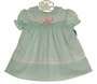 NEW Polly Flinders Pale Green Smocked Dress with Lace and Pink Ribbon Trim