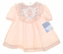 """<img src=""""http://site.grammies-attic.com/images/blue-sold-1.gif""""> NEW Polly Flinders Peach Smocked Baby Dress with Ruffled Yoke"""