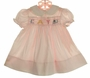 """Polly Flinders Pink Smocked Dress with """"CAT"""" Embroidery"""
