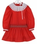 NEW Polly Flinders Red Dotted Dress with Smocked Drop Waist