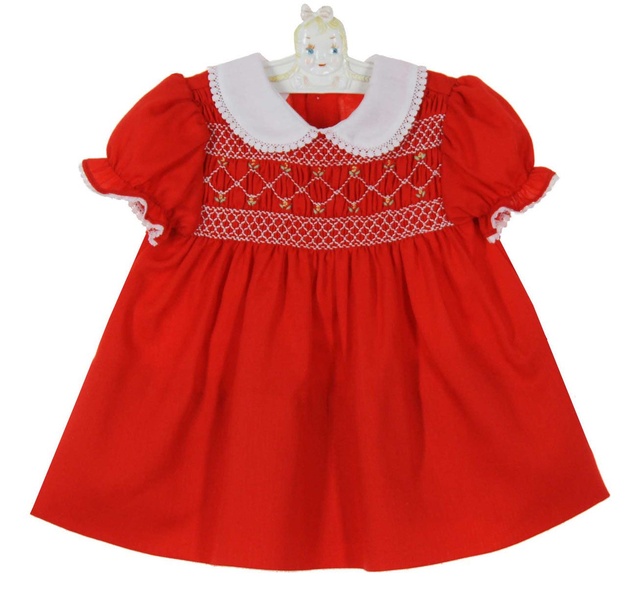 Polly flinders red smocked dress with white lace trimmed collar polly flinders red smocked