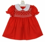 "<img src=""http://site.grammies-attic.com/images/blue-sold-1.gif""> NEW Polly Flinders Red Smocked Dress with White lace Trimmed Collar"