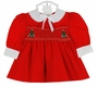 NEW Polly Flinders Tiny Red Smocked Dress with Christmas Trees and Pearls