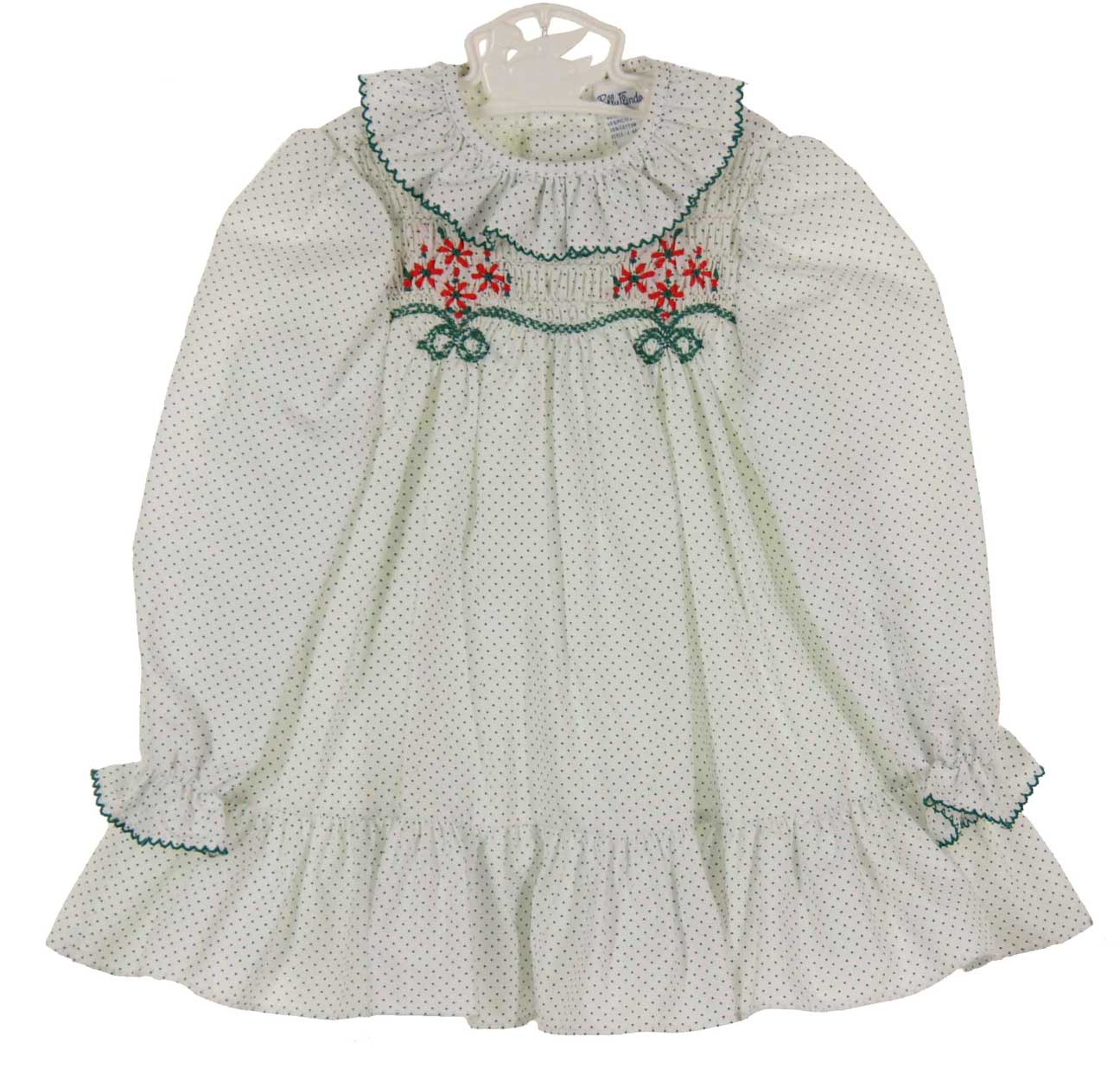 Polly flinders white dotted smocked dress with red flowers polly flinders white dotted christmas