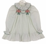 NEW Polly Flinders White Dress with Green Dots, Green Embroidery, and Red Flowers