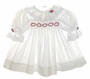 "<img src=""http://site.grammies-attic.com/images/blue-sold-1.gif""> Polly Flinders White Smocked Baby Dress with Lace Trim and Red Rosebud Embroidery"