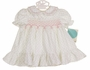 "<img src=""http://site.grammies-attic.com/images/blue-sold-1.gif""> NEW Polly Flinders White Smocked Baby Dress with Pink Rosebud Print"