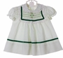 "<img src=""http://site.grammies-attic.com/images/blue-sold-1.gif""> NEW Polly Flinders White Smocked Dress with Green Dots and Green Velvet Ribbon Trim"