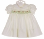 NEW Polly Flinders White Smocked Dress with Holiday Embroidery and Lace Trim