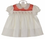 NEW Polly Flinders White Smocked Dress with Red Dotted Yoke and Ivory Lace Trimmed Collar