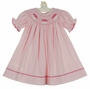 NEW Precious Kids Pink Checked Cotton Smocked Bishop Dress with Cupcakes Embroidery