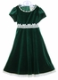NEW Rare Editions Green Velvet Dress with Ivory Lace and Sequin Trim