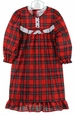 NEW Red Plaid Gown with White Eyelet Trim (Round Yoke) For Little Girls and Big Girls