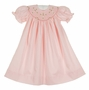 NEW Remember Nguyen Pink Bishop Smocked Dress with Embroidered Crosses