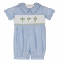 NEW Remember Nguyen (Remember When) Blue Smocked Romper with Cross Embroidery