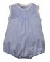 NEW Remember Nguyen (Remember When) Blue Vintage Style Sleeveless Cotton Romper with Ivory Lace Trim