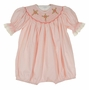 NEW Remember Nguyen (Remember When) Pink Smocked Bubble with Cross Embroidery